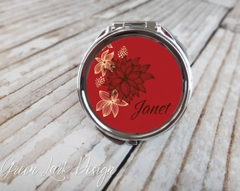 Bridesmaids Gifts Personalized Compact - Modern Floral In Red