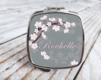 Bridesmaids Gift - Compact Mirror - Cherry Blossom Wedding