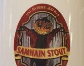 Ceramic Beer Mug Stein Samhain Stout Craft Beer Label Design Traditional Stein 16 oz