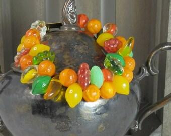 Czech Glass Fruit and Fruity Candy Colored Bracelet