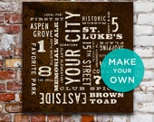 PERSONALIZED Wall Art, Custom City Art, Subway Art, Rustic Wall Art, Personalized Home Decor, Industrial Home Decor, Typography Art Canvas.