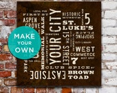 CUSTOM City Art Print. Make Your Own Personalized Neighborhood Sign. Typography Poster. Canvas Subway Sign. Going Away Gift. Man Cave Art.