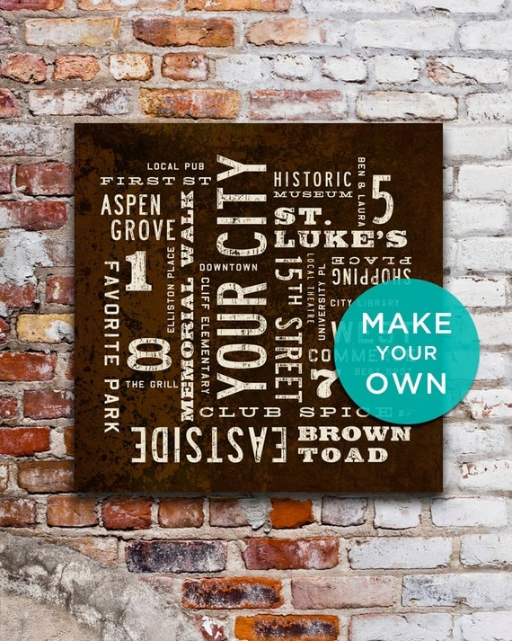Personalized Wall Art Custom City Art Subway Art Rustic Wall Art Personalized