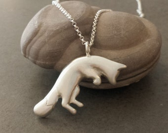 Pouncing Fox Pendant - Sterling Silver - Fox Necklace