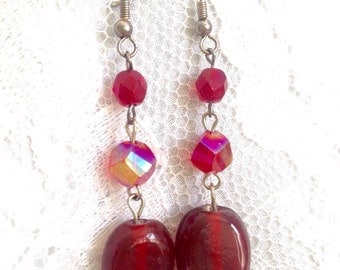 Red Spiral Venetian Glass, Garnet, Red Hand Blown Glass and Sterling Silver Earrings - Mid Century Modern - Vintage Inspired