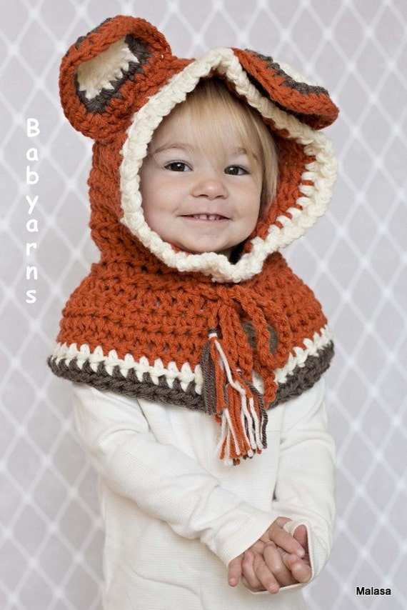 Animal Hoodie Knitting Pattern : HAT Hoodie Cowl Kids Photo Cowl Hat Winter Cowl Cape Hat