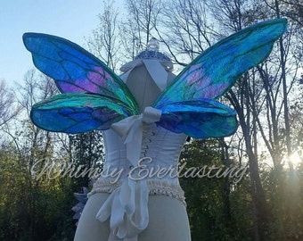 Full Color Insect Fairy Wings Wedding Halloween Costume Faerie Reenactment Fantasy Renaissance Custom Cellophane Cosplay