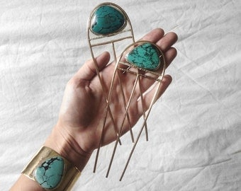 ASCEND Hair Pin // Turquoise pick your stone