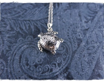 Silver Sea Turtle Necklace - Sterling Silver Sea Turtle Charm on a Delicate Sterling Silver Cable Chain or Charm Only