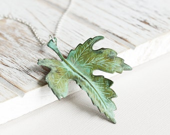 Large Leaf Necklace - Aged Patina Maple Leaf Pendant Necklace with Silver Plated Chain, Woodland Jewelry, Autumn Necklace, Fall Jewelry