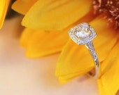 5mm CZ halo engagement ring, perfect pre proposal ring, Sterling Silver ring, Diamond Halo ring