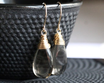 Large smokey quartz earrings, brown, 14k gold filled, wire wrapped, gemstone earrings, grey, drop earrings, dangle, Mimi Michele Jewelry