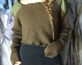 Olive Drab Military Sweater / Upcycled Sweater/ Olive Jumper