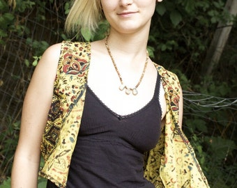Golden Cropped Tapestry Vest