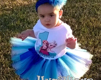 Custom Anna and Elsa Princess Frozen Birthday Shirt + Tutu Outfit (any age)