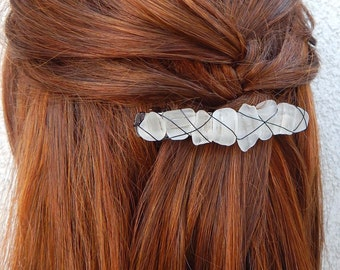 Wire Wrapped Sea Glass Clip Real Beach Glass Barrette Summer Hair Accessory Gifts for Her Under 30 Unique Style Frosted Glass Clips