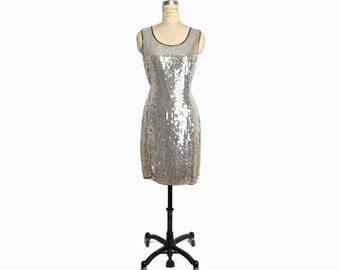 Vintage Silk Sequin Party Dress in Silver / Great Gatsby Dress / Silver Party Dress / Flapper Costume - women's US 6