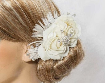 Bridal Hair Piece, Real Touch rose hair comb. Ivory, Cream, Natural White. feathers, roses, rhinestones, crystals. Tea Rose Collection