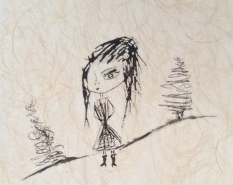 Lina Listening to the Trees- Archival Ink on Traditional Textured - Japanese Paper- 8.5x11- Minimal Wall Decor