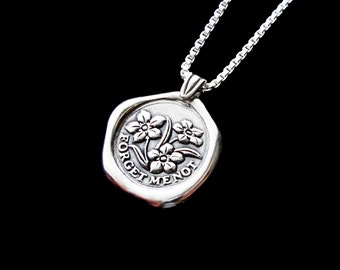 Forget-Me-Not necklace Sterling Silver jewelry pendant forget me not Silver necklace Silver pendant flower necklace Wax seal necklace N-211