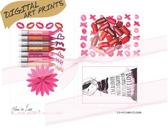 Digital MP11 Glam in Love Art Prints for Home and Office Decor | 1 5x7 & 2 3.5x5 for you to print