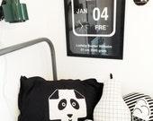 Kids Pillow / Kids Room / Plus Sign Pillow Case / Panda Pillow / Modern Childrens Bedding / Monochrome Nursery / Black and White Pillowcase