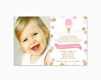 Ice Cream Birthday Party Invitation, Pink Gold Ice Cream Birthday Party Invitation, Gold Glitter, Polka Dot, Photo, Printable or Printed