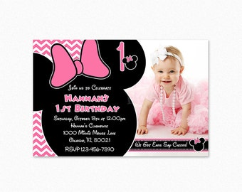Minnie Mouse Birthday Party Invitation, Pink Chevron Minnie Mouse Invitation, 1st, Personalized, Printable or Printed