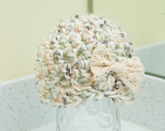 Newborn Girl Ivory Sparkle Shell Beanie Bow Hat Neutral Colors Shimmer Yarn RTS