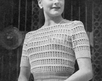 Great 1940s Colour Block Ladies Jumper 32 to 34 Bust Lister 1013 Vintage Knitting Pattern Download
