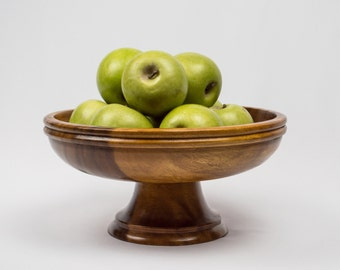 Wooden Pedestal Fruit Bowl Mid Century Style Kitchen Decor
