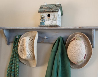 Rustic Coat Hat Rack Shelf Hand Painted and Distressed in Gray Mud Room Entryway