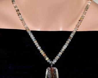 LP 1339  Rare Rutilated Quartz Pendant  Necklace