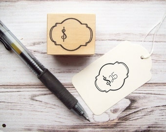 Price Tag Stamp with Dollar Sign for Craft Shows, Boutique Shops, Garage Sales - Money Euro Stamp