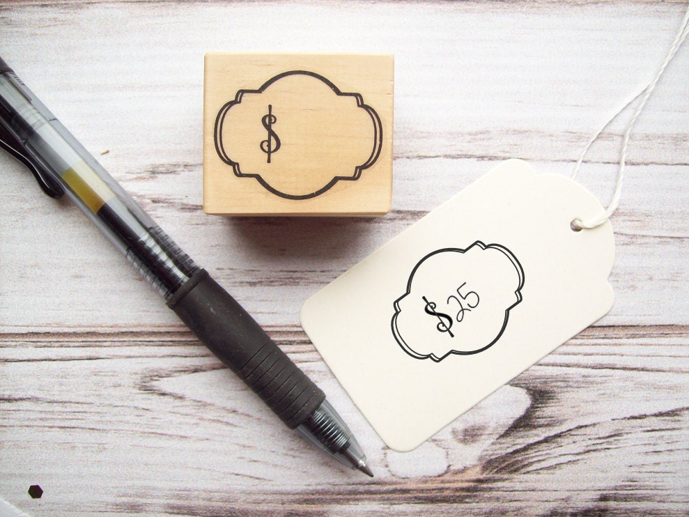 Price tag stamp with dollar sign for craft shows boutique for Price tags for craft shows