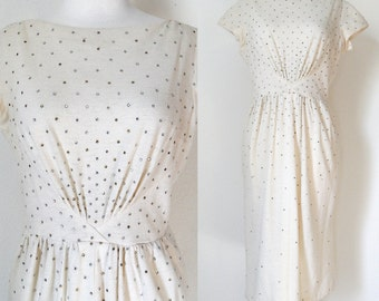 50s Cream Rhinestone Wiggle Wool Dress with Cap Sleeves and Boat Neck Pin Up Retro Bombshell size 10