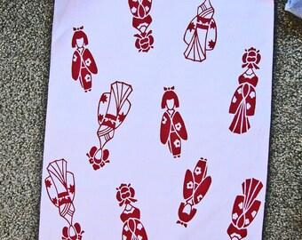 Vintage 1970s Novelty Print Geisha Girl Fabric by the yard