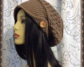 Taupe Slouch Crochet Ladies Hat with wood button and brim hat