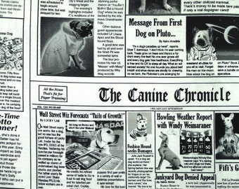 White Black Dogs Newspaper Print, Cotton Quilting or Craft Fabric, Timeless Treasures, GAIL C9705, half yard, B12