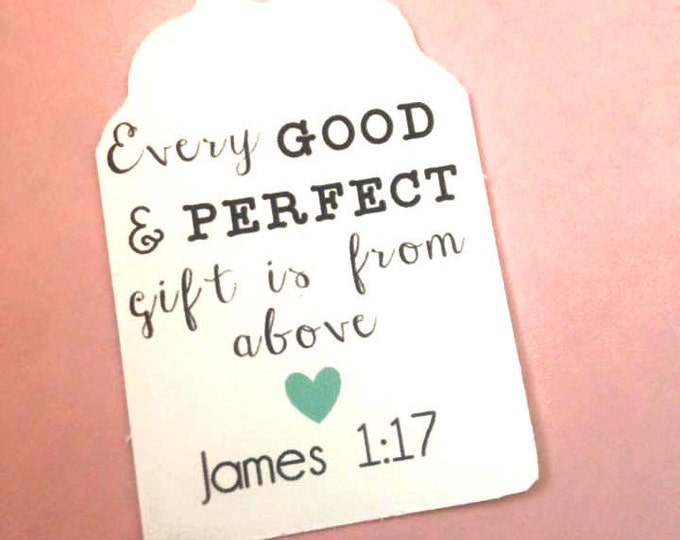 James 1:17 baby Shower Thank You tag with choice heart color, tags, gift tags, favor tags, thank you tags, party favors, bridal shower