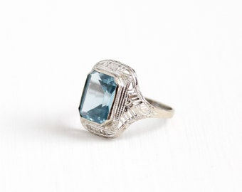 Sale - Antique 10k White Gold Art Deco Created Blue Spinel Ring - Vintage Size 5 Filigree 1920 Emerald Cut Blue Synthetic Stone Fine Jewelry