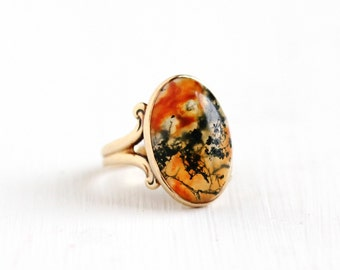 Sale - Antique Edwardian 10k Rosy Yellow Gold Moss Agate Ring - Vintage Victorian 1900s Size 3 Translucent Dendritic Chalcedony Fine Jewelry