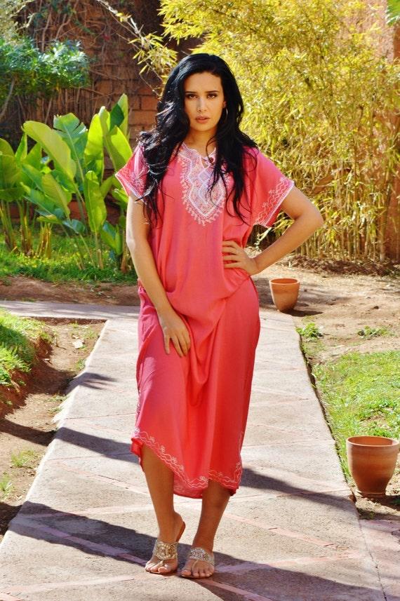 Pink Marwa Resortwear Caftan Kaftan-for holiday, beach cover up, resortwear,abaya, lounge wear, maternity wear, birthday, wedding gifts