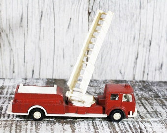 Tootsie Toys Fire Truck, Hook and Ladder Fire Truck, Vintage Toy Truck