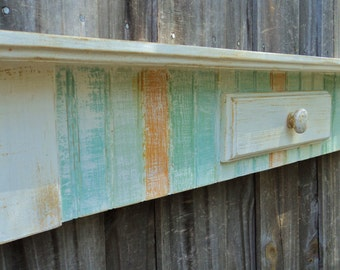 Beach House Style Display Shelf, Table Shelf, Rustic Mantle, You Choose Colors