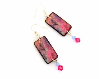 Summer Dangle Earrings Decoupaged Wood Crystal Rectangle Drop Earrings Pastel Pink Periwinkle Boho Jewelry Summer Jewelry Gifts for Her