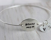 bonus mom mothers bracelet | gift for step mom | stacking bangles | sterling silver hand stamped bangle bracelet | kids initials bracelet