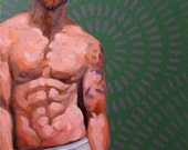 Obscenely Muscular, oil on canvas panel 11x14 inches Kenney Mencher