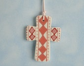 Pink Diamonds Small Cross Ornament Hand Painted