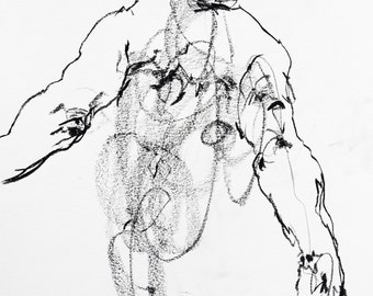 "Minimal Drawing of Male Back -  ""Drawing 418"" - 9 x 12"" charcoal on paper - original drawing"
